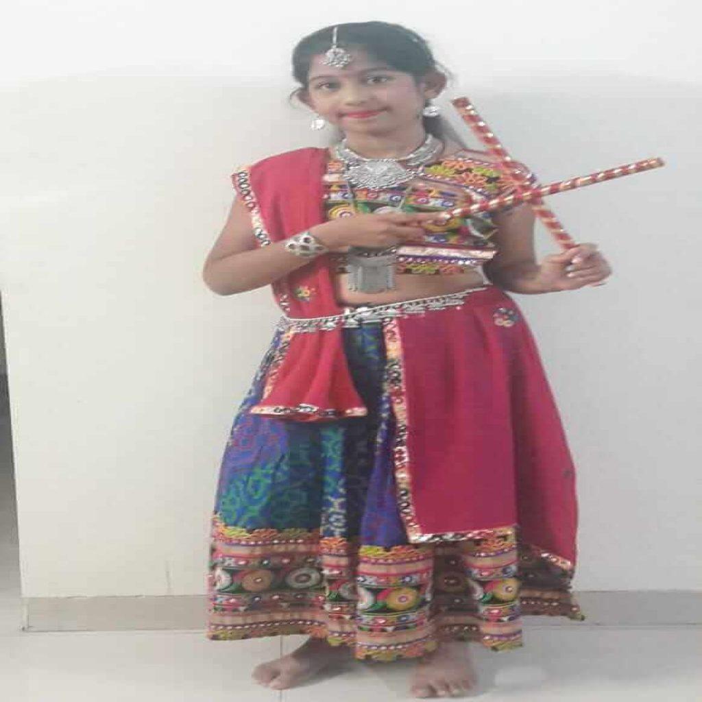 misha santani - kids garba costume photo contest - 2019 - Misha Santani Kids Garba Costume Photo Contest 2019 1024x1024 - 1st Prize Winner – Misha Santani – Apostrophe CHS – Kids Garba Costume Photo Contest – 2019