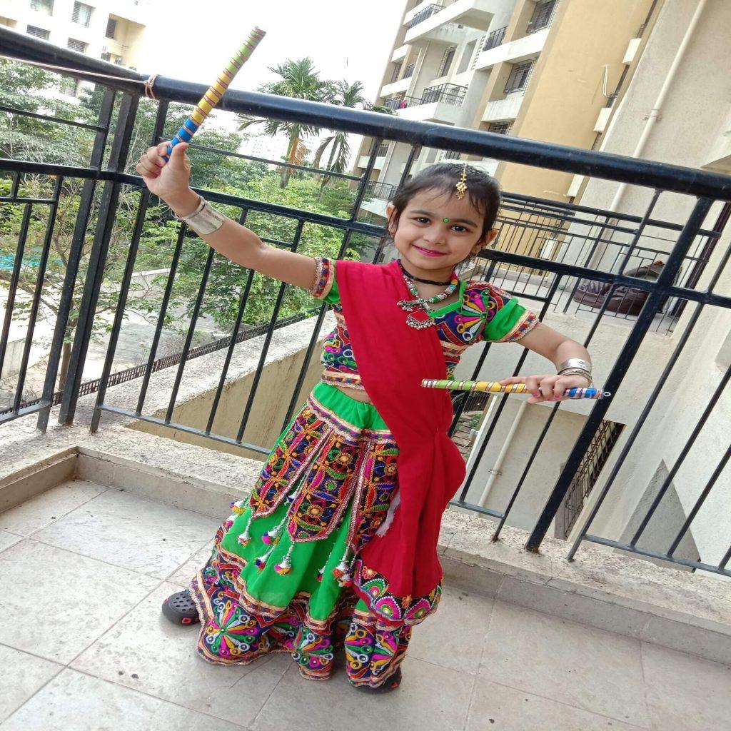saisha kakkar - kids garba costume photo contest - 2019 - Saisha Kakkar Kids Garba Costume Photo Contest 2019 1024x1024 - 2nd Prize Winner – Saisha Kakkar – Datta Mandir Road, Wakad – Kids Garba Costume Photo Contest – 2019